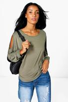 Boohoo Emma Cold Shoulder Dipped Hem Top