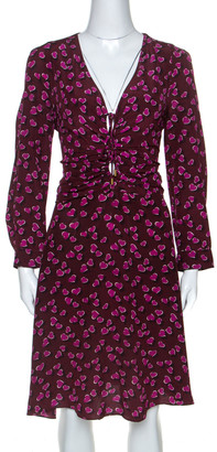 Gucci Burgundy Heartbeat Print Silk Ruched Detail Dress L