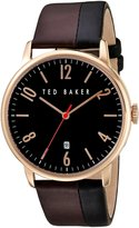 Ted Baker Men's 'Modern Visual' Quartz Stainless Steel and Leather Dress Watch, Color:Brown (Model: 10030756)