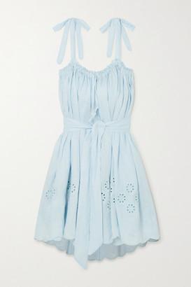 Innika Choo Nev Erontym Belted Broderie Anglaise Linen Dress - Sky blue