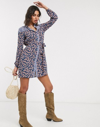 Only shirt dress in paisley mixed print