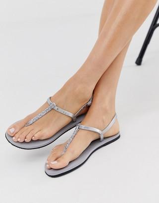 Havaianas glitter toe post sandal in silver
