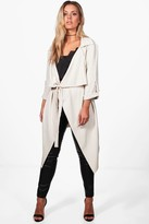 boohoo Plus Daisy Belted Waterfall Duster Coat stone