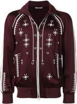Valentino geometric embroidery zip-up sweatshirt