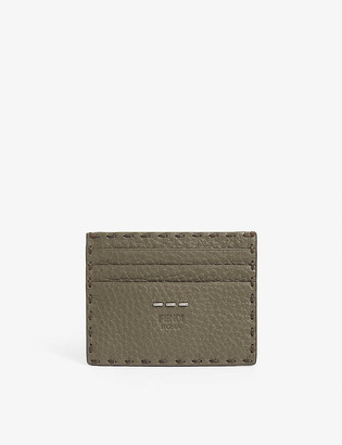 Fendi Grained leather card holder