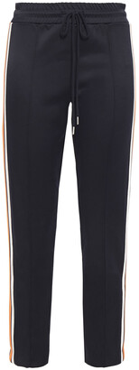 Sandro Cropped Striped Satin-jersey Track Pants