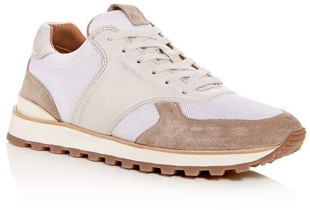 John Varvatos Men's LES Light Trainer Distressed Leather Low-Top Sneakers
