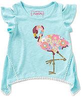 Flapdoodles Little Girls 2T-6X Flamingo Fun Sharkbite-Hem Cold-Shoulder Top