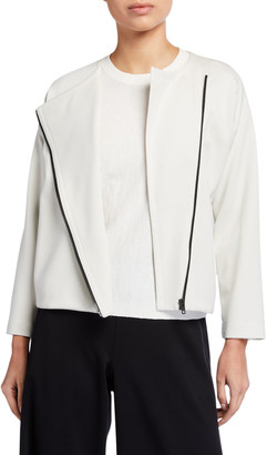 Eileen Fisher Plus Size Flex Lyocell Ponte Zip-Front Jacket