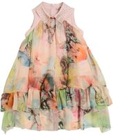 Miss Blumarine Butterfly Printed Silk Voile Dress