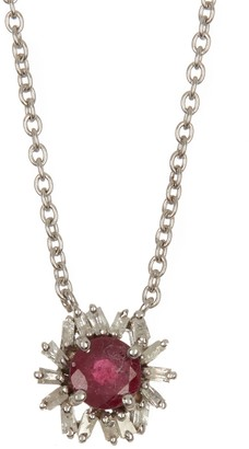 Forever Creations Usa Inc. Sterling Silver Diamond & Ruby Pendant Necklace