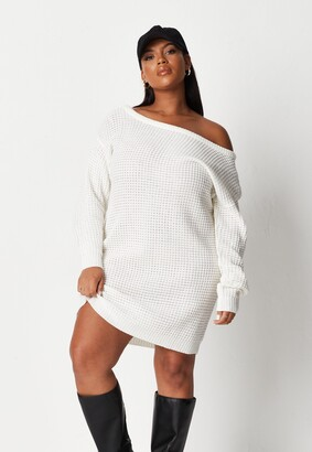 Missguided Plus Size White Waffle Knit Off Shoulder Jumper Dress