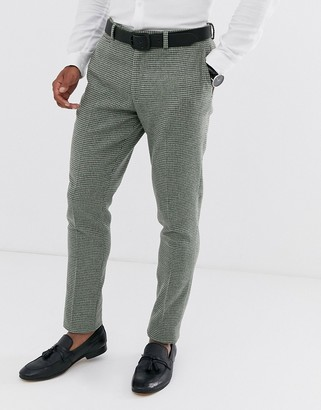 ASOS DESIGN super skinny suit pants in green wool blend mini check