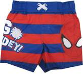 "Marvels Little Toddler Striped ""Go Spidey"" Swim Shorts Boys"