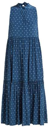 ASCENO Polka-dot Tiered Silk-crepe Midi Dress - Womens - Navy