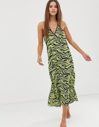 Miss Selfridge midi beach dress in zebra print