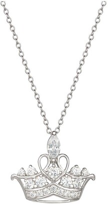 Disney Princess Sterling Silver Crystal Tiara Pendant Necklace