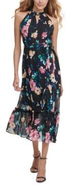 Kensie Ruffled Halter Midi Dress