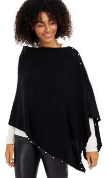 Charter Club Cashmere Faux-Pearl Asymmetrical Poncho, Created for Macy's