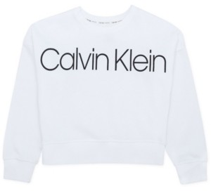 Calvin Klein Big Girls French Terry Logo Sweatshirt with Screenprint