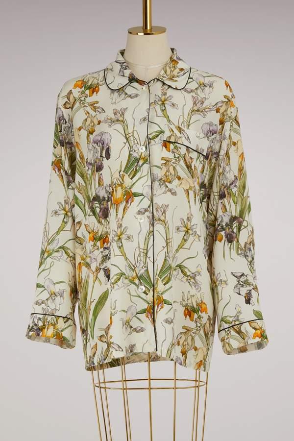 Alexander McQueen Printed Silk Pajama Top