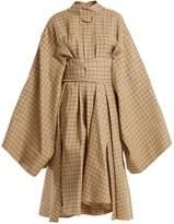 Awake Checkered kimono-sleeved cotton shirtdress