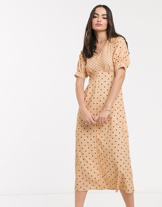 Closet London midi tea dress in mixed spot