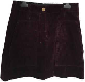Sandro Fall Winter 2019 Burgundy Velvet Skirt for Women