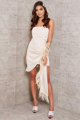 I SAW IT FIRST Nude Feather Drape Bandeau Bodycon Dress