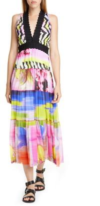 Fuzzi Floral Print Zigzag Midi Dress