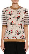 Marni Floral Striped Crewneck Sweater, Multi