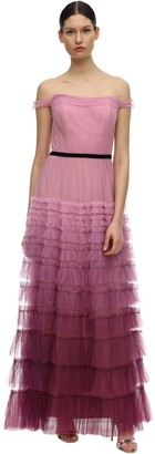Marchesa Tiered Gradient Tulle Gown