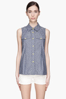 Marc by Marc Jacobs Blue and green Dotty Chambray Sleeveless Blouse