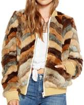 Chaser Women's Faux Fur Calico Bomber Jacket