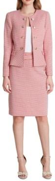 Tahari ASL Double Breasted Tweed Button-Front Peplum Blazer