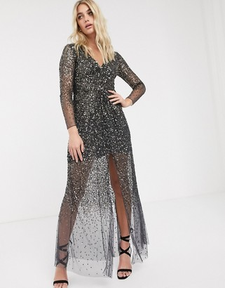 French Connection vneck knotted sequin maxi dress-Silver