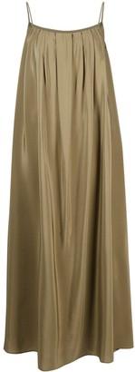 FEDERICA TOSI Pleated Silk Maxi Shift Dress