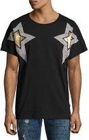 Just Cavalli Metallic Star-Print Graphic T-Shirt, Black