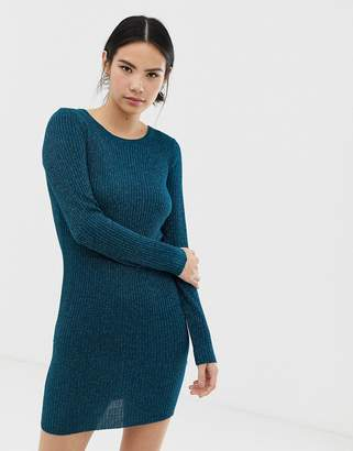 Brave Soul chunky cable knit sweater dress in teal-Green