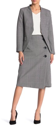 T Tahari Plaid Button Front Midi Skirt