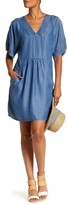 Bobeau Chambray V-Neck Shift Dress