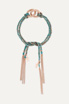 Carolina Bucci Baby Boy Lucky 18-karat Rose Gold And Silk Bracelet