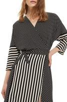 Topshop Women's Spot & Stripe Mix Wrap Dress