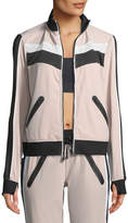 Blanc Noir Zip-Front Mesh-Panel Running Jacket