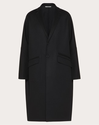 Valentino Double-faced Coat Man Black Virgin Wool 90%, Cashmere 10% 44