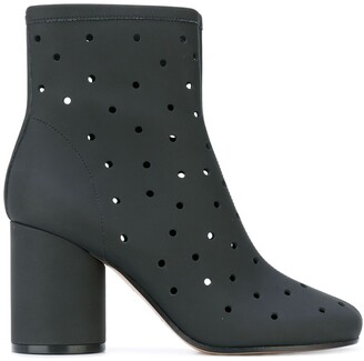 Maison Margiela Hole Punch Mid-Heel Ankle Boots