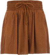 Morgan Short suede-effect skirt