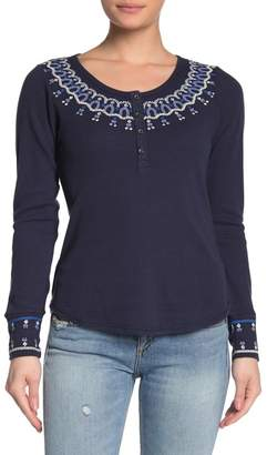 Lucky Brand Embroidered Neck Thermal Knit Shirt
