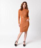 Unique Vintage 1970s Style Pumpkin Orange Knit Long Sleeve Wiggle Dress