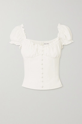Reformation Bev Ruffled Crepe Top - Ivory
